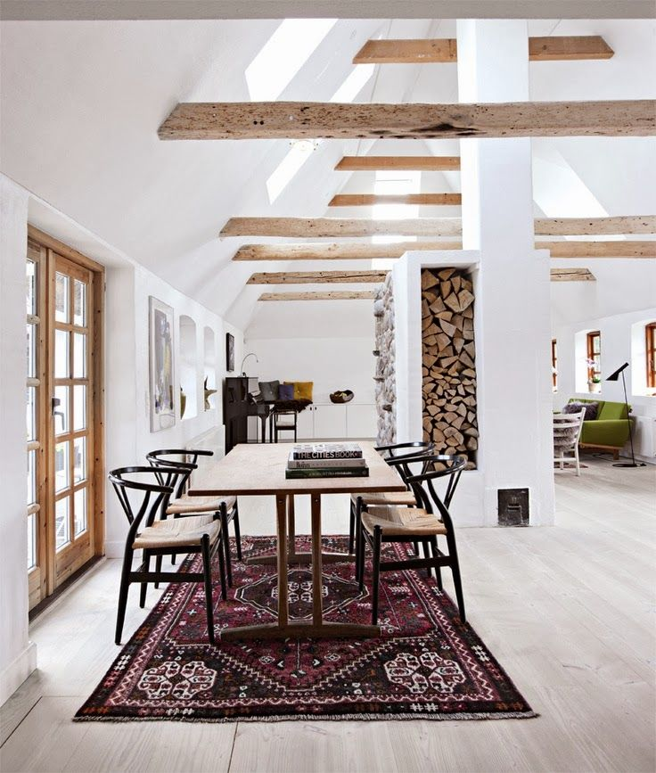 A great example. Love the kilm rug, the modern table, the beams, the white walls!