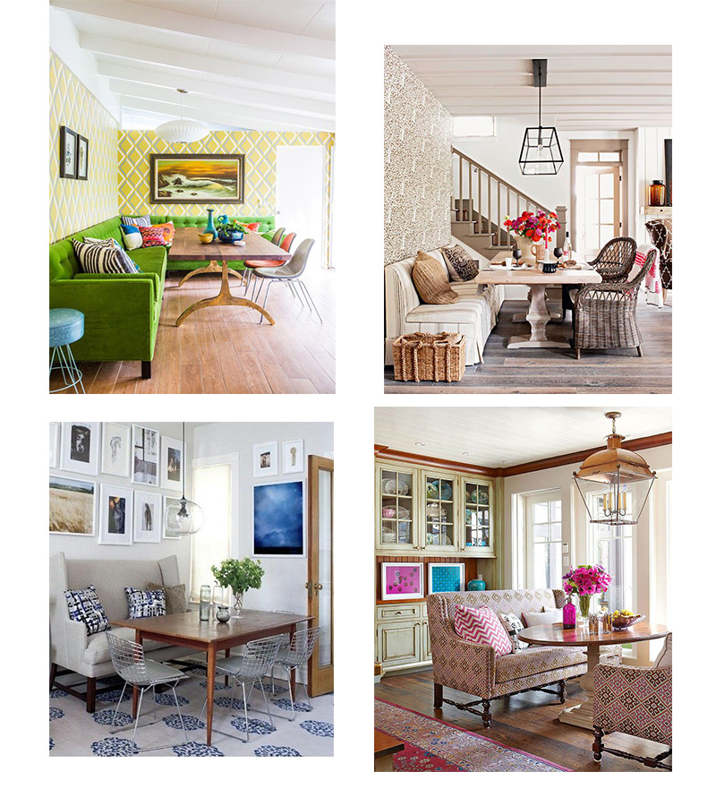 1/ Bright and Cheerful Green Sofa  2/Classic Bench seat 3/ Fantastic kitchen nook  4/ Traditional