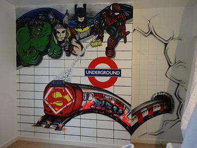 Superhero and London Underground bedroom mural