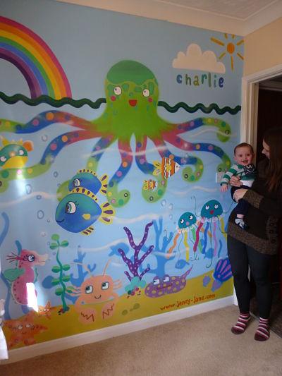 Under the sea nursery mural