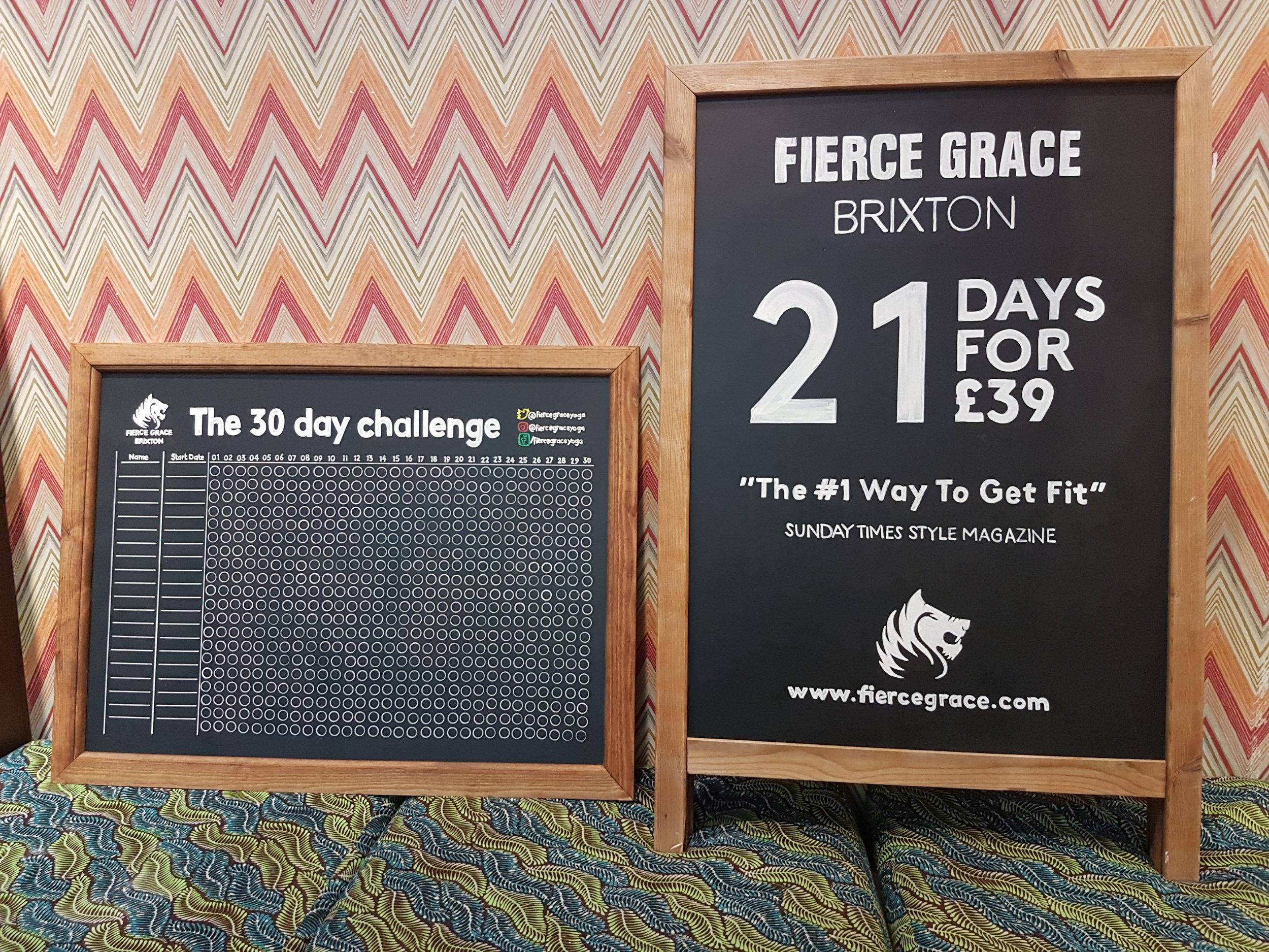 Fierce Grace Yoga chalkboards