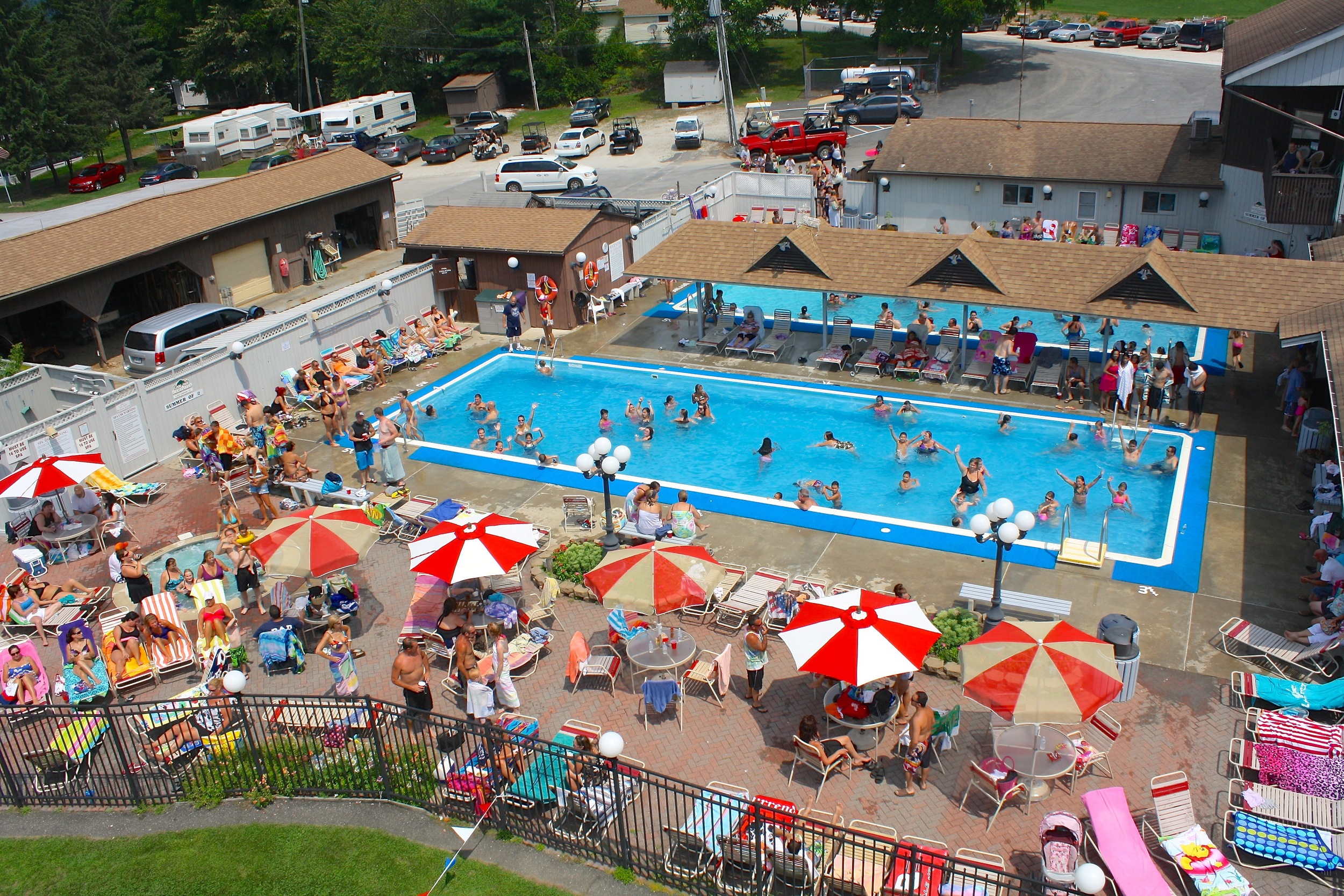 arial shot of the pool area