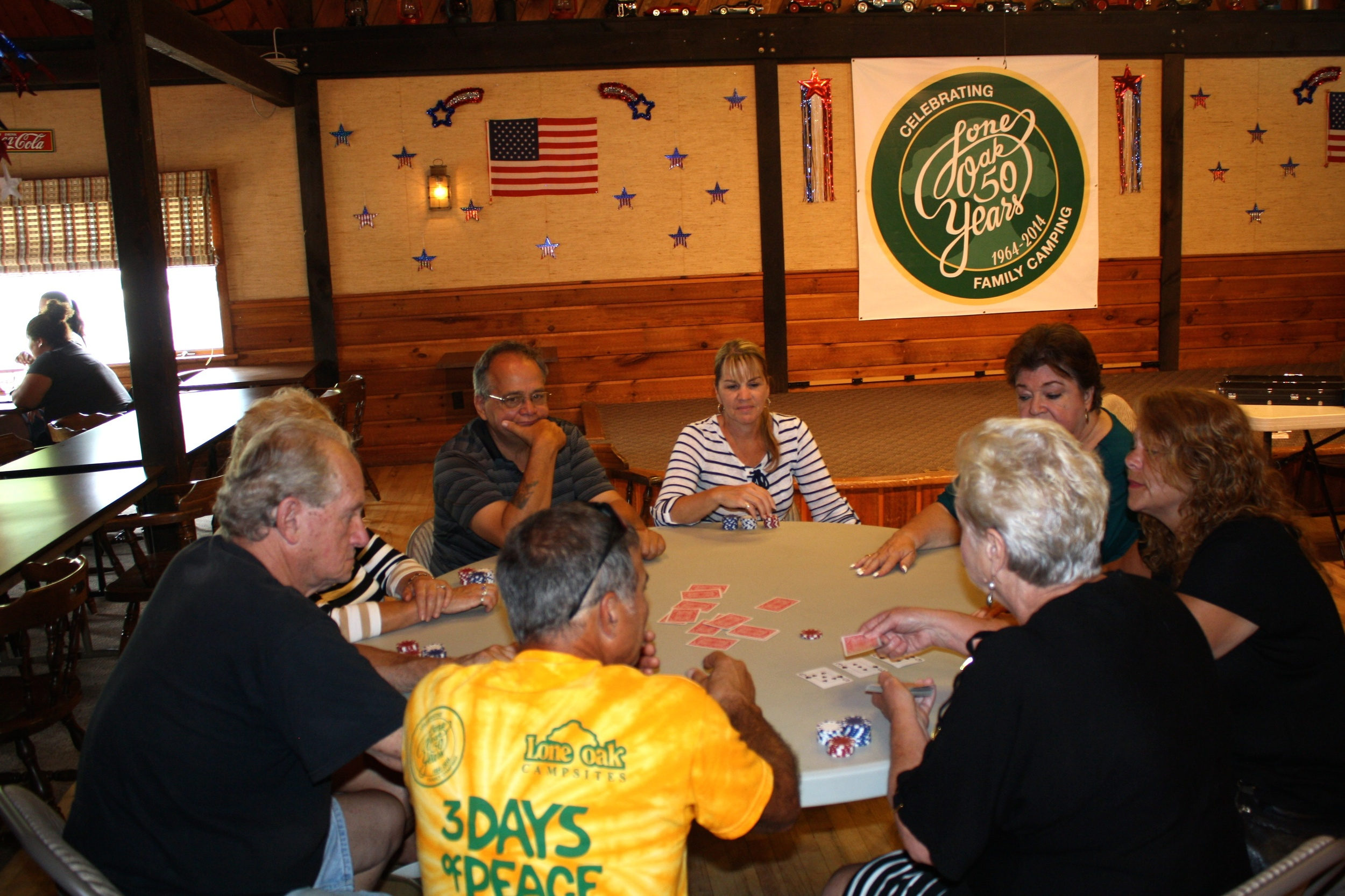 5 card poker, LCR, and other camper-run games weekly