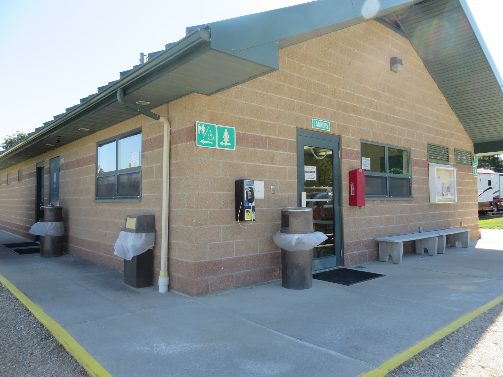 restroom and laundry facility in the field area