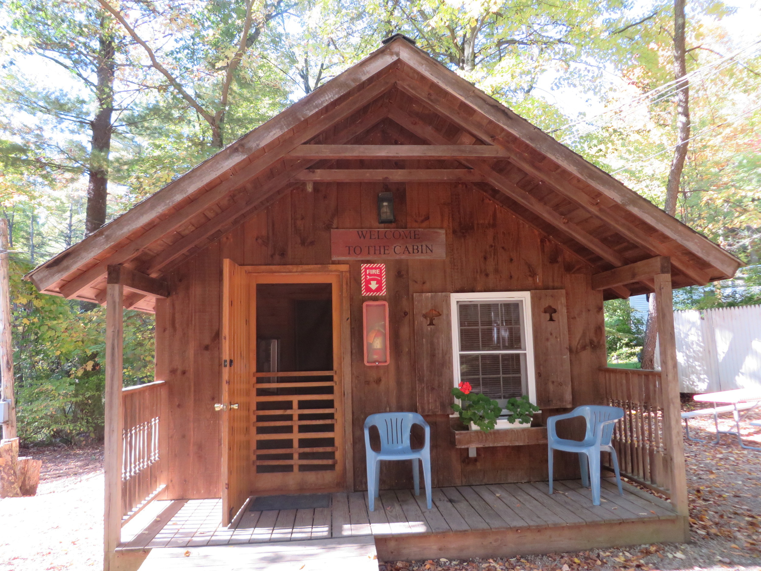 birches cabin front with small deck