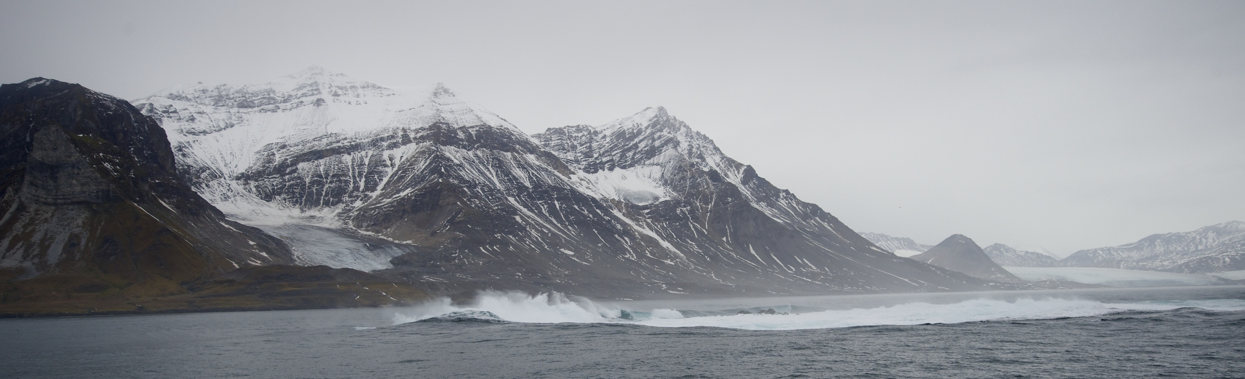 Leaving Isfjorden, there is an inconsistency in the sea floor that creates a perpetual wave