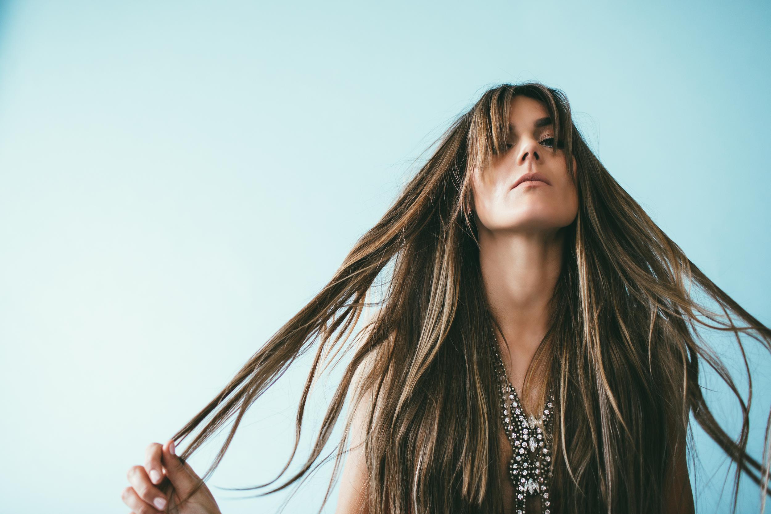 Model: Tessa Barton Product: Bohyme Luxe Hand-Tied Silky Straight (Color M4/30) Hair Stylist: Tatum Wetzel
