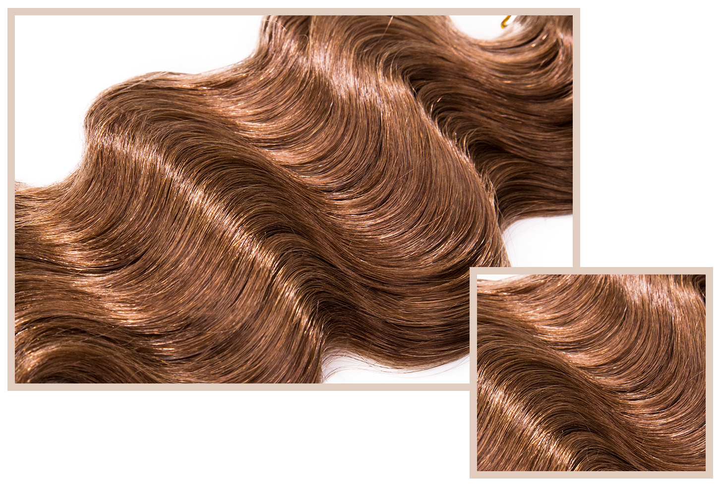 OCEAN BREEZE - Available in Classic, LuxeSmooth texture, with strong sharp curls that break up into rippling waves. Slightly coarser than the French Body, this hair can be styled to have long lasting beach waves.