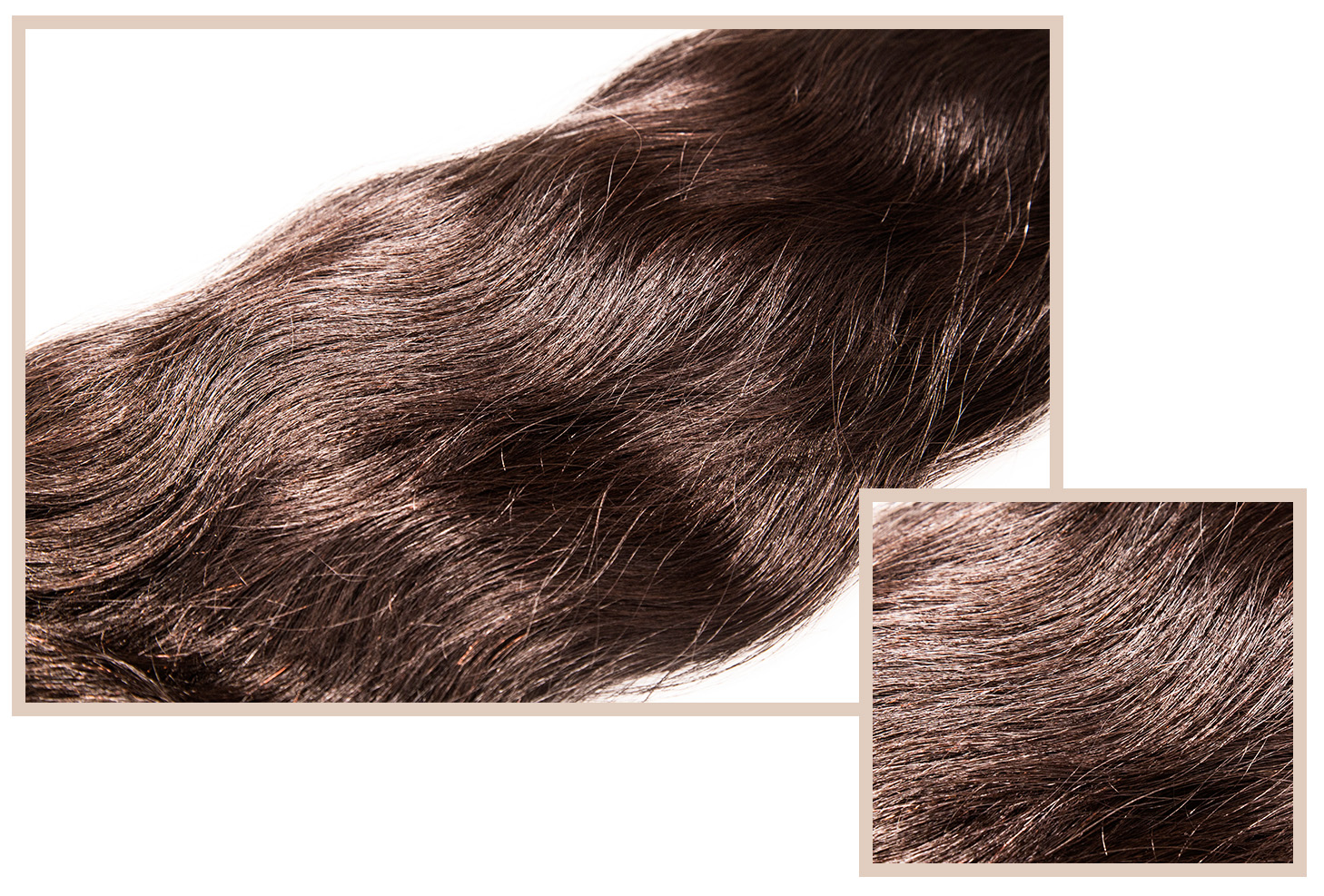 EGYPTIAN WAVE - Available in Classic, LuxeSmooth texture, with soft curls that break up into rippling waves. Slightly coarser than the French Body, this hair can be styled to have long lasting beach waves.