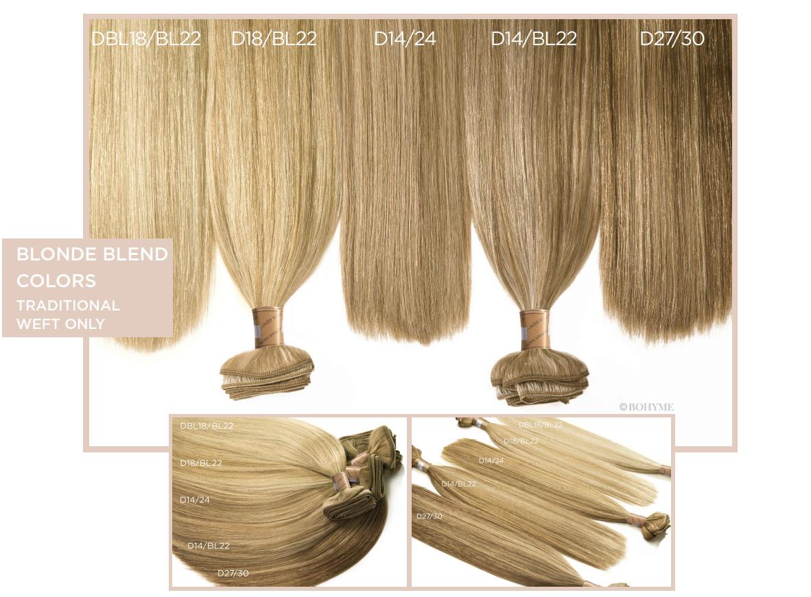 Blonde Blend Colors  (Traditional Weft Only) DBL18/BL22, D18/BL22, D14/24, D14/BL22, D27/30