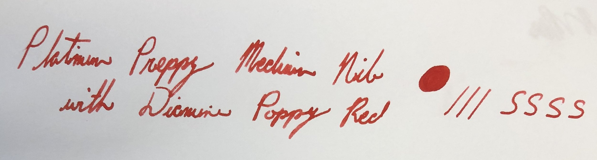 Platinum Preppy Medium nib with Diamine Poppy Red