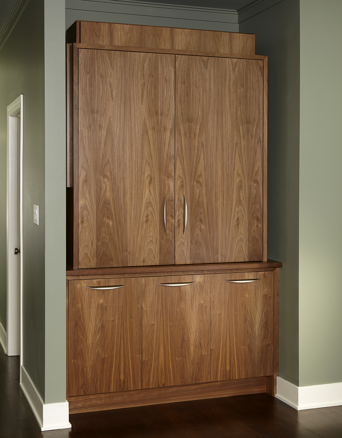 Walnut Armoire Style Wet Bar