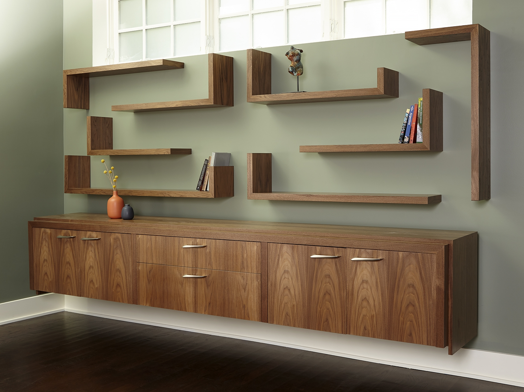 Walnut Media Storage and Shelving Unit