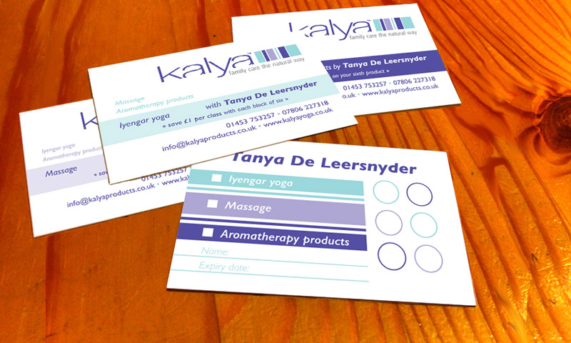 Series of three card types printed in one print run for Kalya, Stroud. Photo ©Narjas Carrington