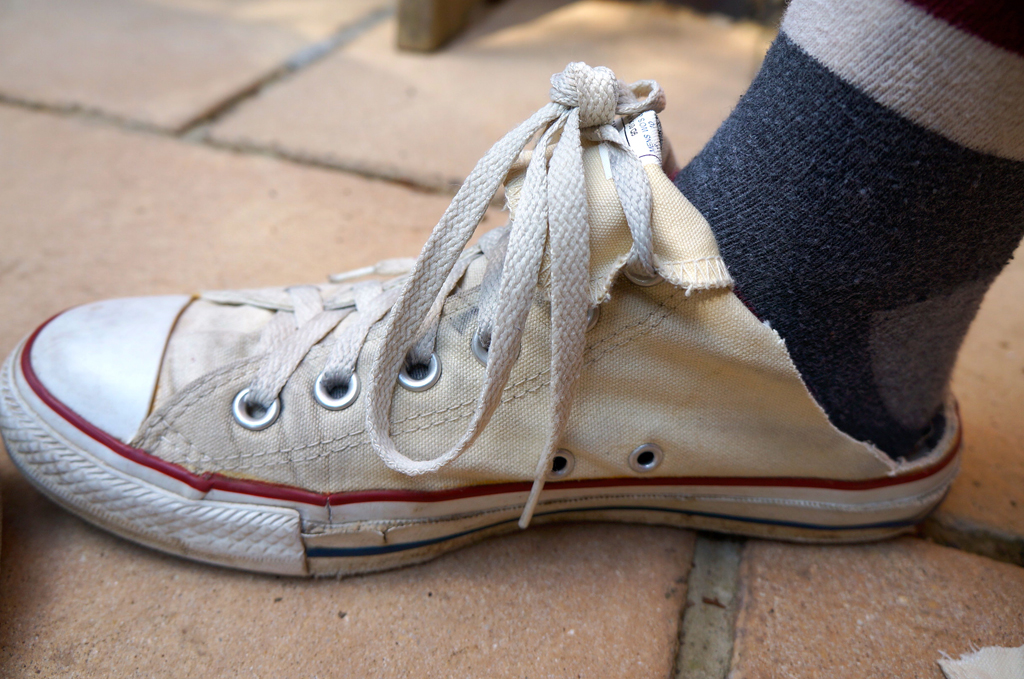 One successfully converted converse high-top to a slip-on shoe. Photo © Narjas Carrington