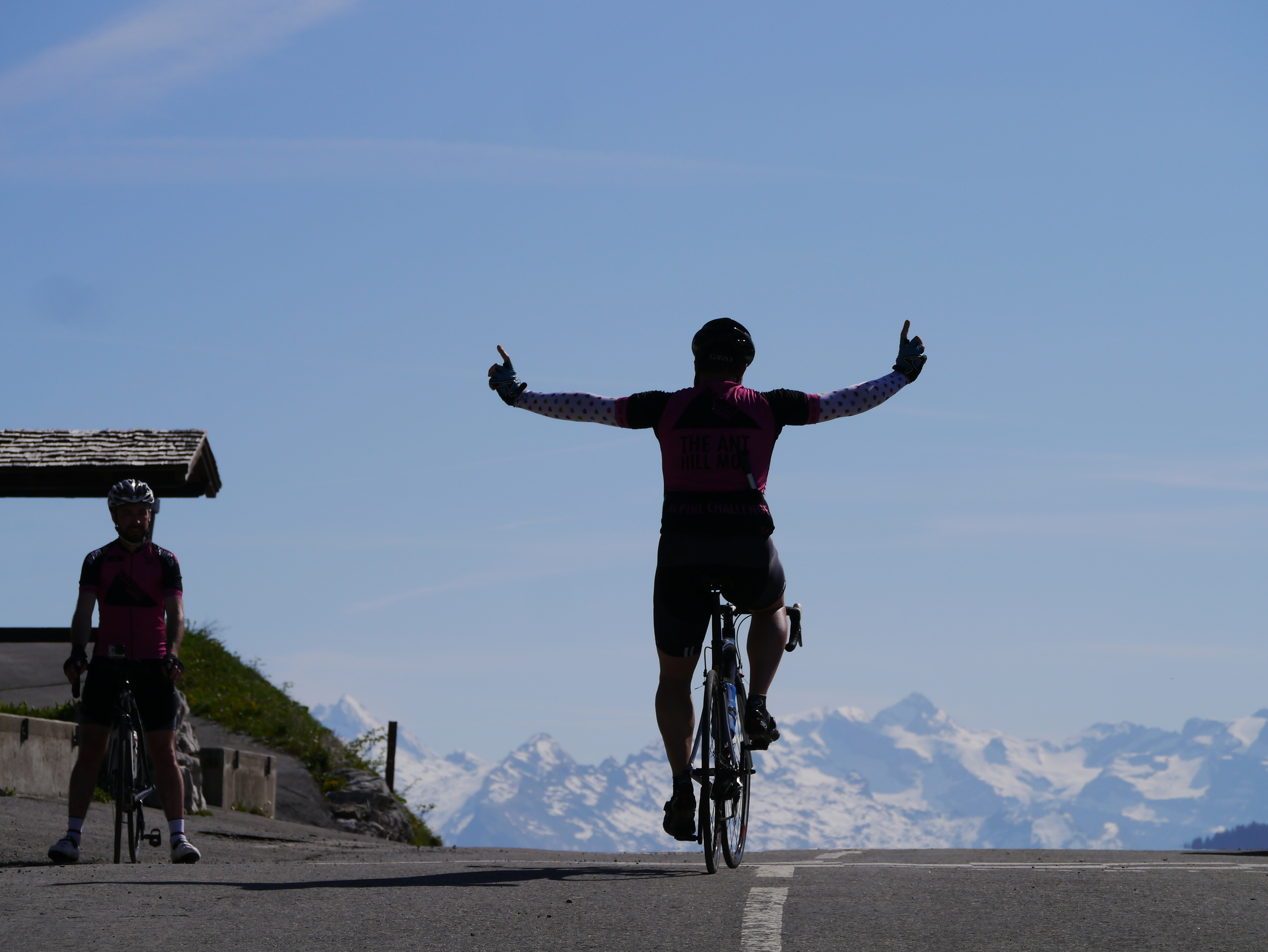Roger summiting the Colombiere with some very dubious arm warmers, it was not even cold!!!
