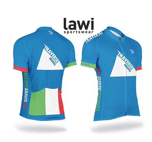 """It is not compulsory but it is certainly cool when everybody looks the part. Thanks again to Lawi Sportswear. Climb statistics on the red pocket and """"Pizza and Pedalling"""" on the sleeves."""