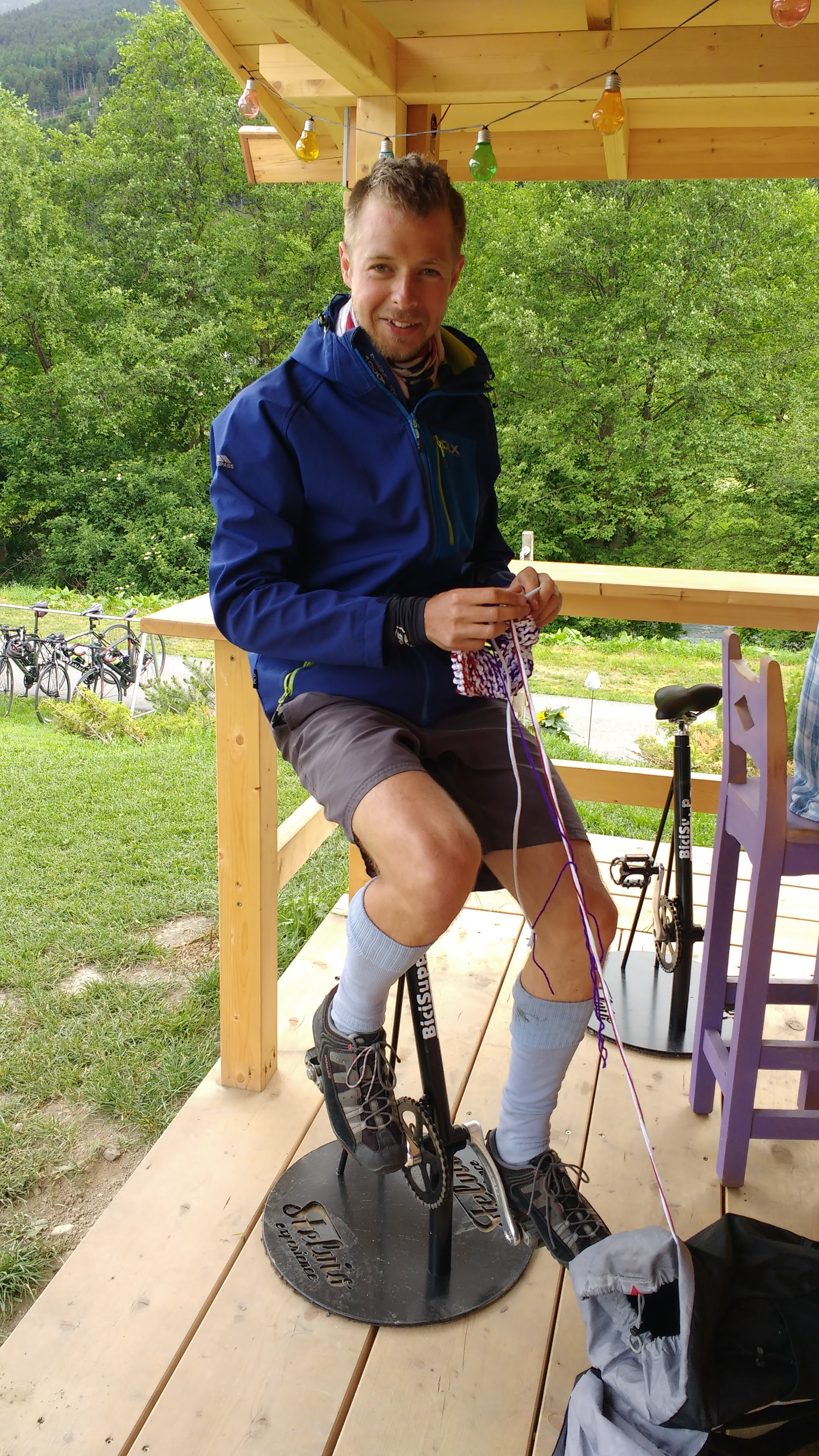 Bikes and knitting - finally, Peter's hobby's are combined