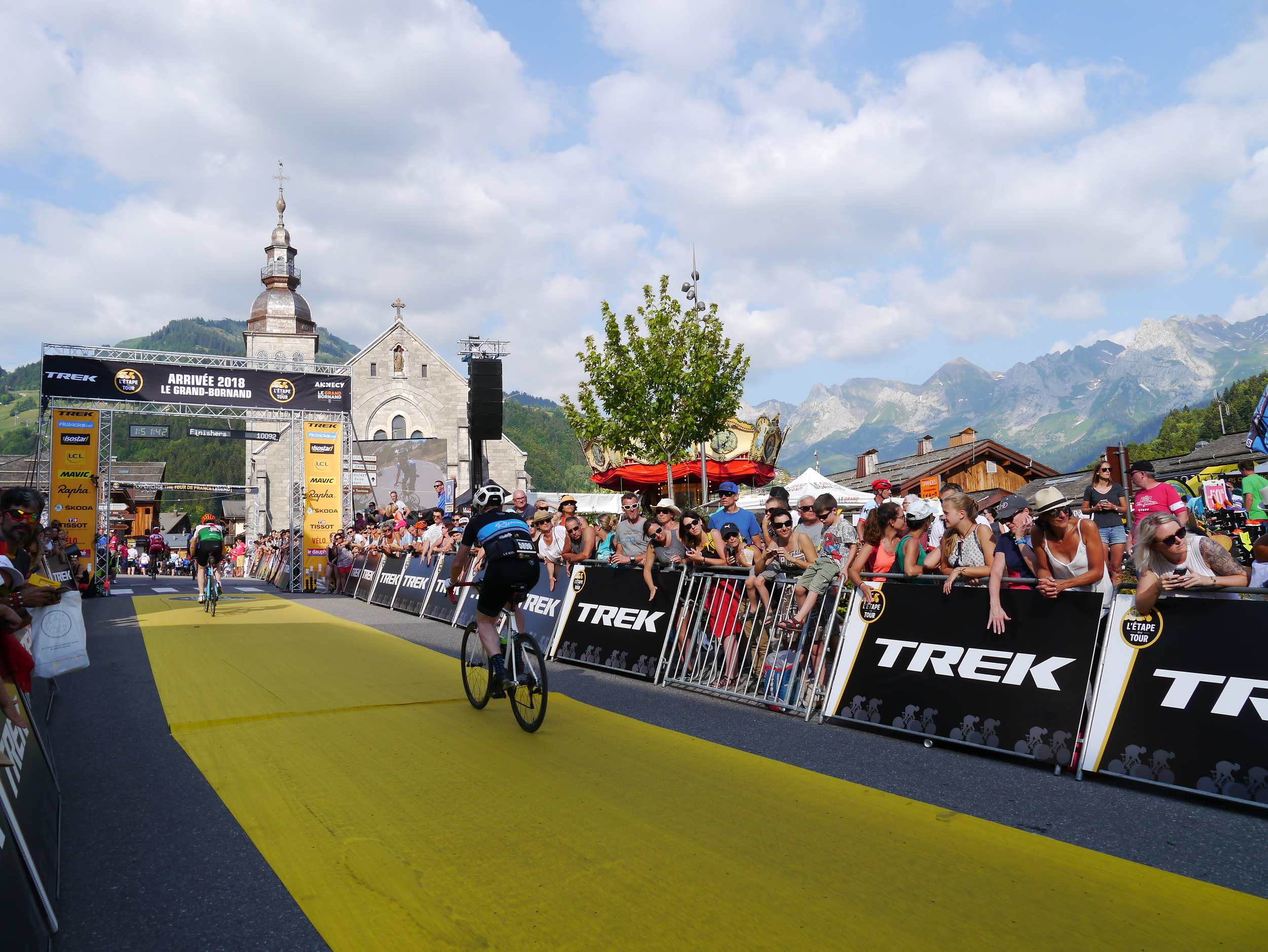 Steve crossing the line of the Etape du Tour, unbelievable to see our home transformed for the day