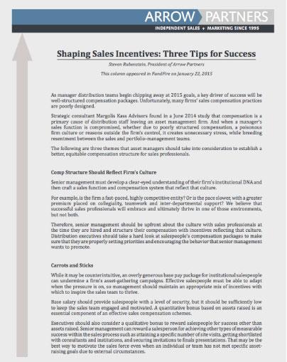 shaping sales incentives