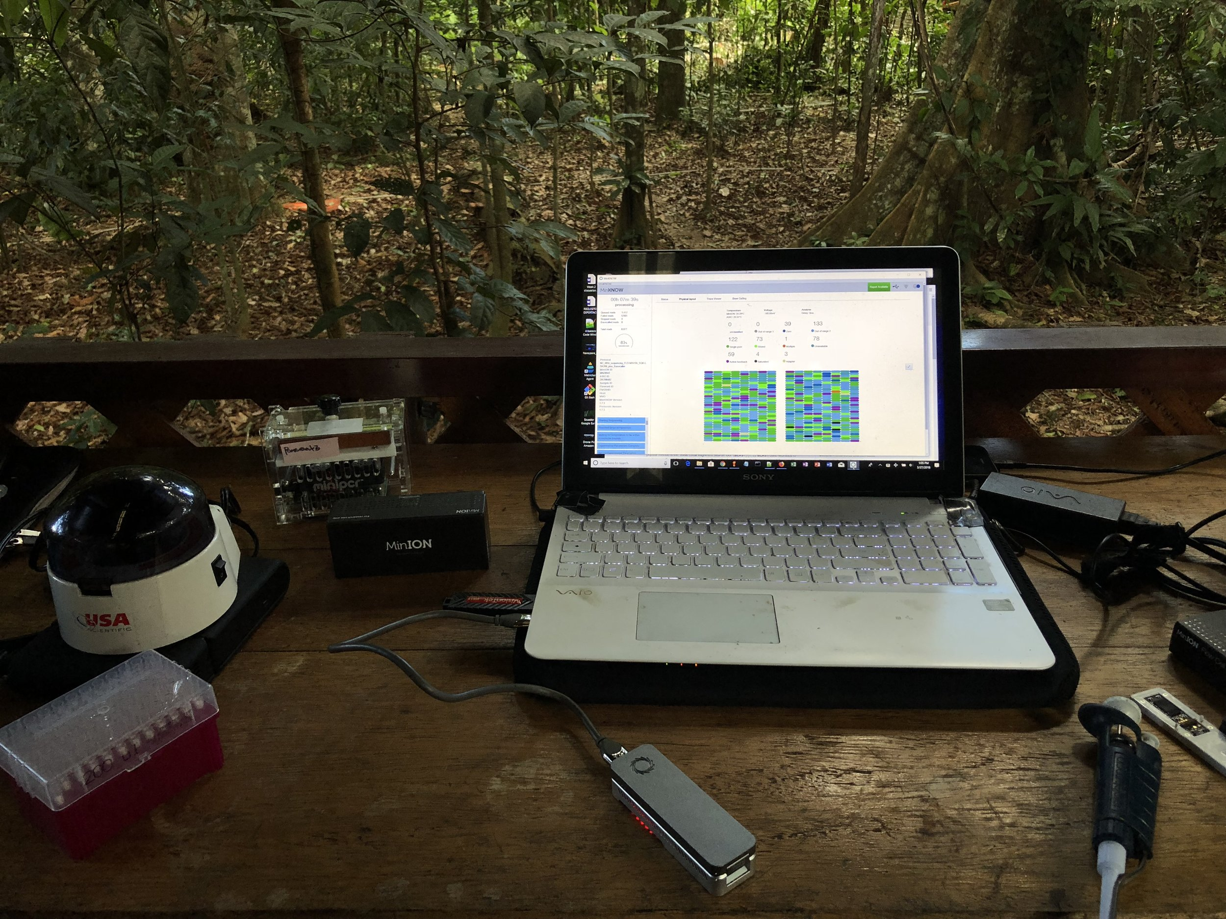 My portable lab setup that I recently deployed in Peru to sequence long stretches of ribosomal DNA from plants and arthropods.
