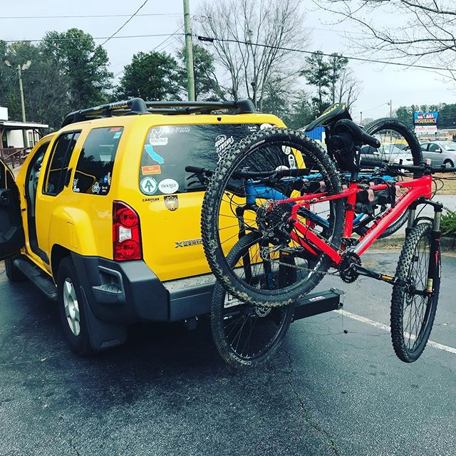 Loaded up and headed out. Santos Bike Park here we come!! 3 days of mountain biking. 82degrees and sunny. #Godsfavorite #omba @garland4ashes #insideoutside#bestdayever
