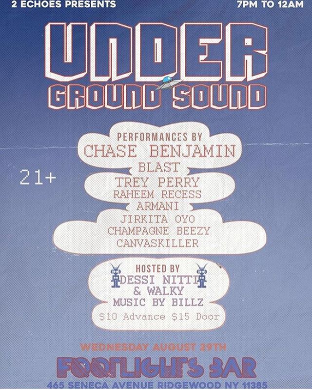 Another #Undergroundsounds show is set for Wednesday, August 29, at @thefootlightbar. Music by @bread_billz and @_iamblast_ performing live along with a number of #localartists. Doors open at 7pm - keep following us here and check out our website for details.  We want to see you there - come say hello! ___________________________________________________________ #Topside #breadisthebrand #nyc #leburg #unsignedartist #hiphop