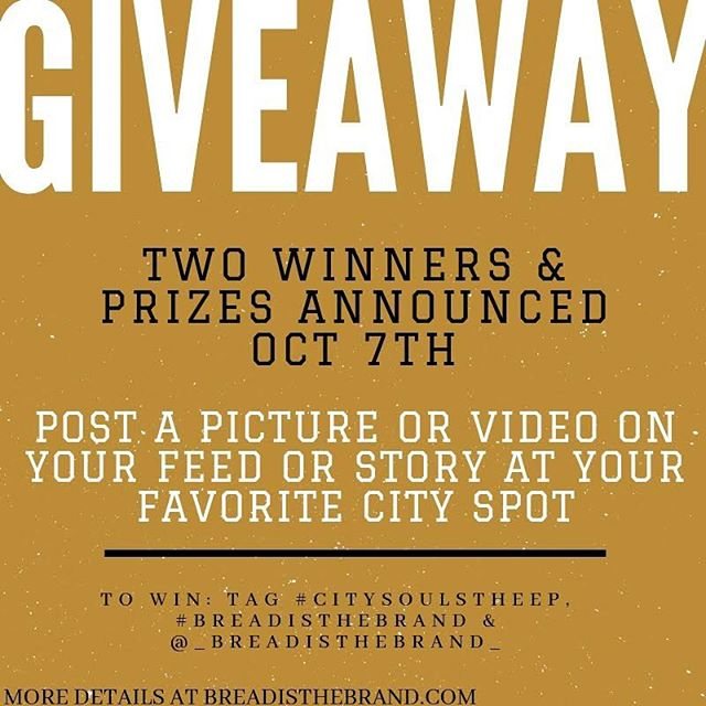 🚨GIVEAWAY🚨Participate to win with directions in this post Oct 1-7.  ___________________________________________________________Don't forget to tag #CitySoulstheEP, #BreadistheBrand and @_breadisthebrand_ to be eligible to win. Two winners & prizes will be announced Oct 7.  ___________________________________________________________ 👇 Drop us a comment of what you'd like to see in a #BreadistheBrand prize bag. We're listening.