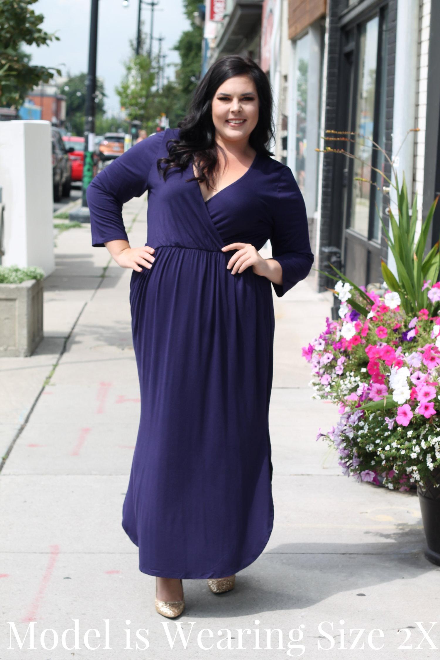 Navy Wrap Top Jersey Maxi — Your Big Sister\'s Closet Plus Size