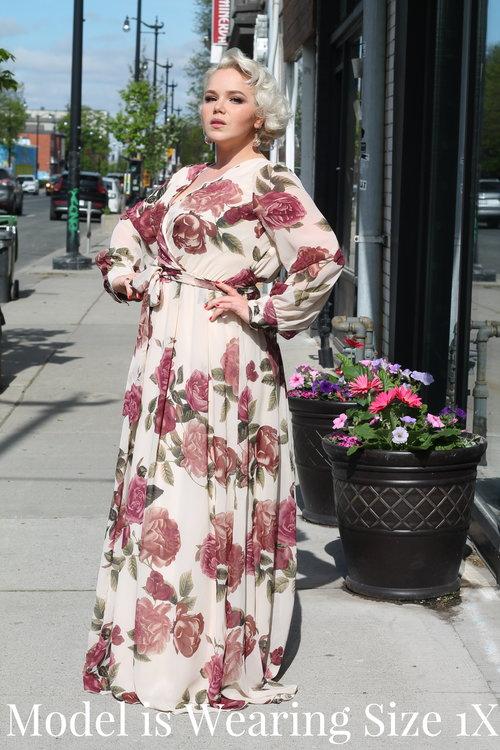 958975959 Your Big Sister s Closet Plus Size. IMG 6135.jpg IMG 6138.jpg. Blush Floral  Chiffon Maxi