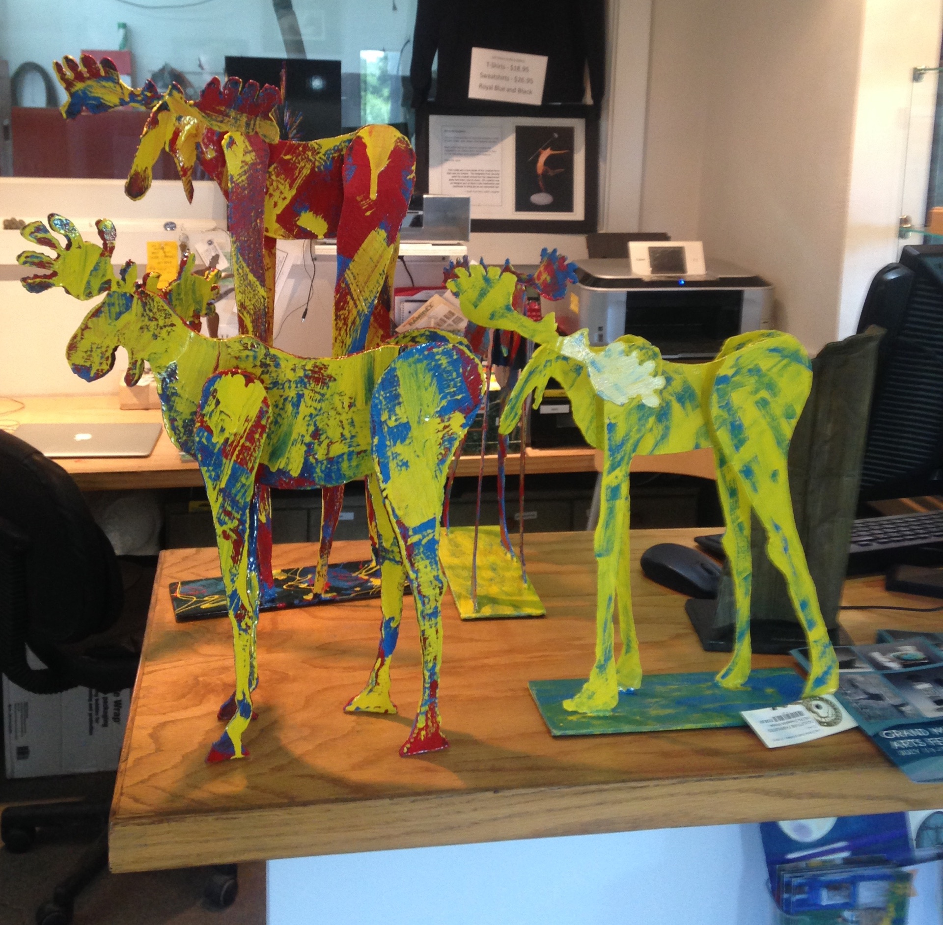 moose on the counter, these will be our highlighted sculptures at this years Art Fest