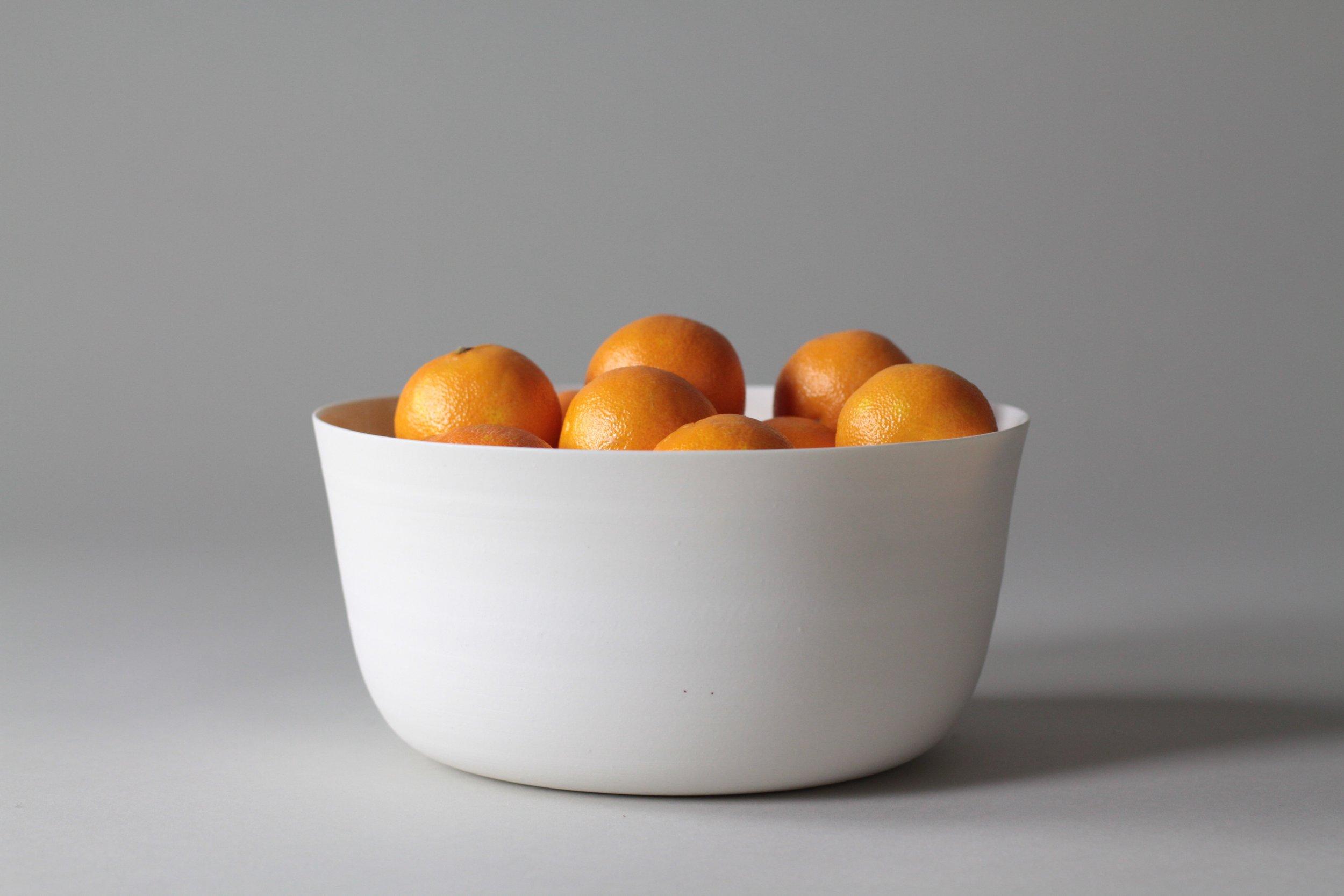 Porcelain ceramic white serving bowl by Lilith Rockett, Portland, Oregon
