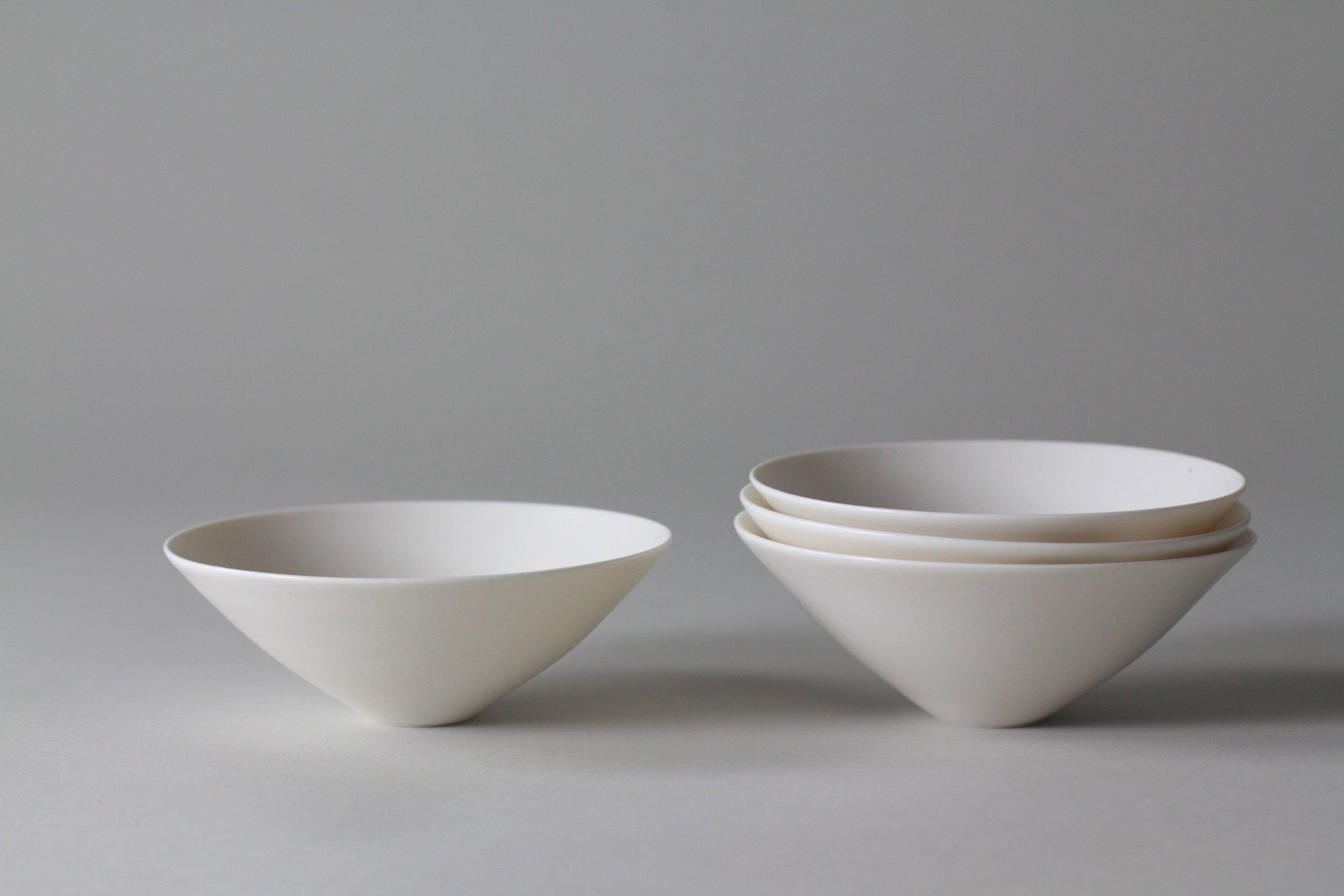 Porcelain ceramic white bowls by Lilith Rockett, Portland, Oregon