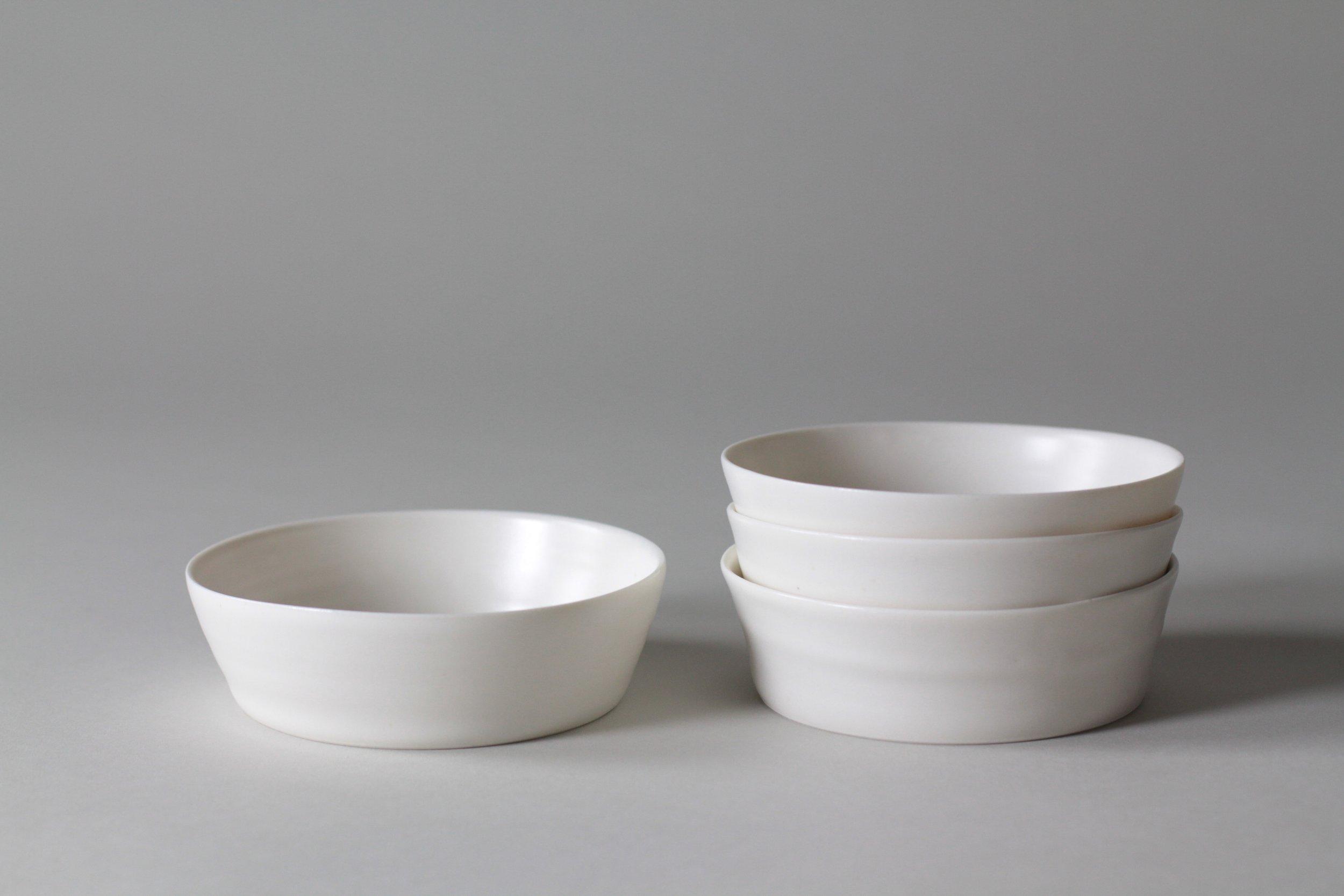 Porcelain ceramic white bowl by Lilith Rockett, Portland, Oregon
