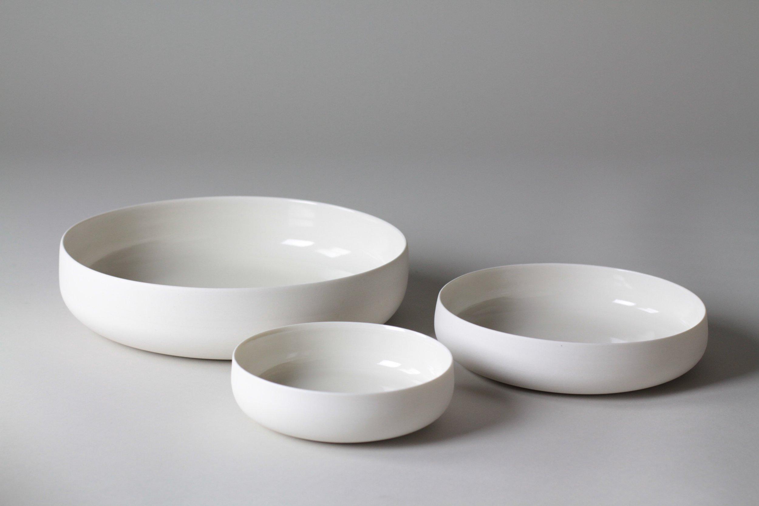 Porcelain ceramic bowls by Lilith Rockett, Portland, Oregon