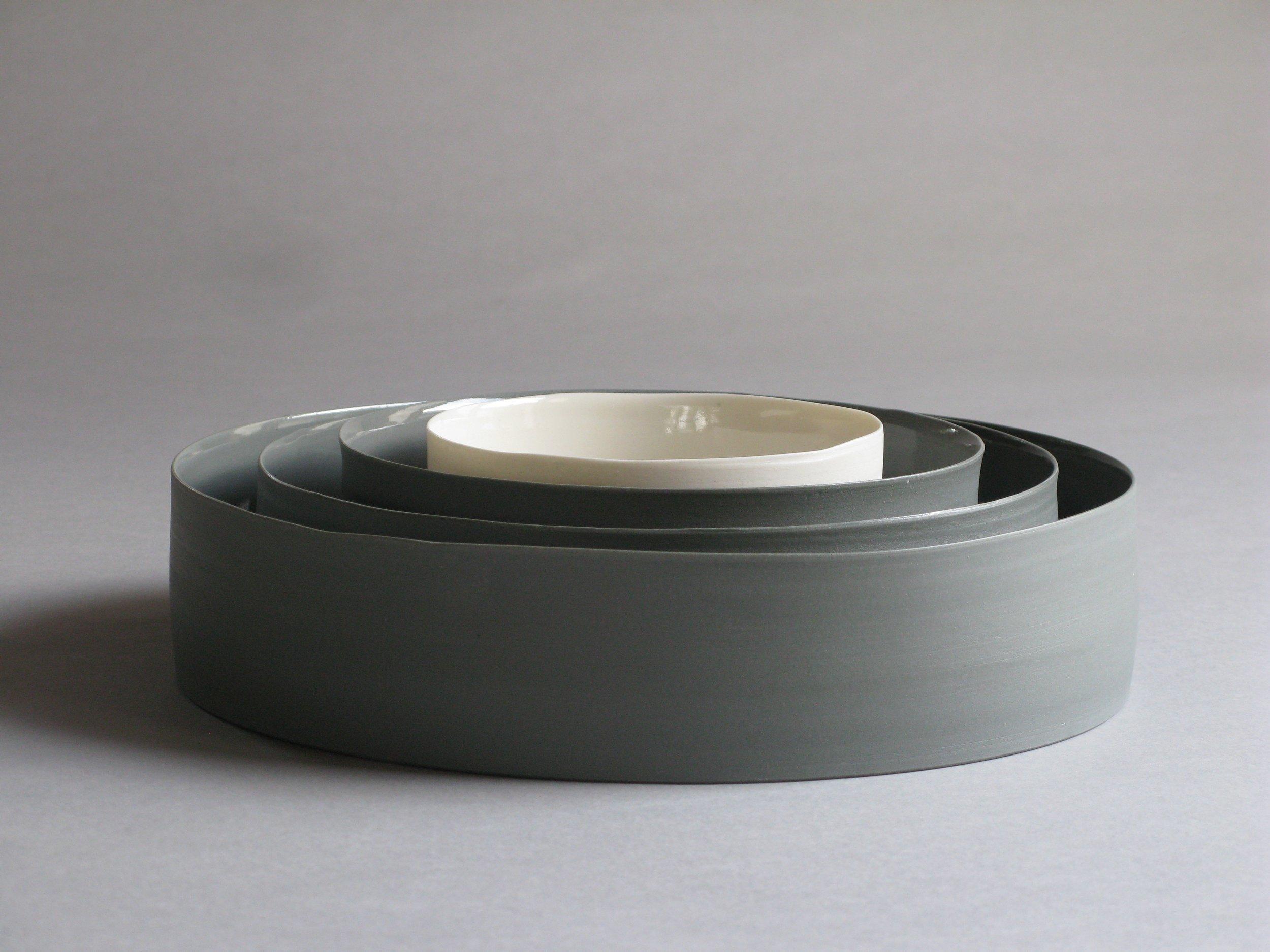 Porcelain ceramic white and grey bowls by Lilith Rockett, Portland, Oregon