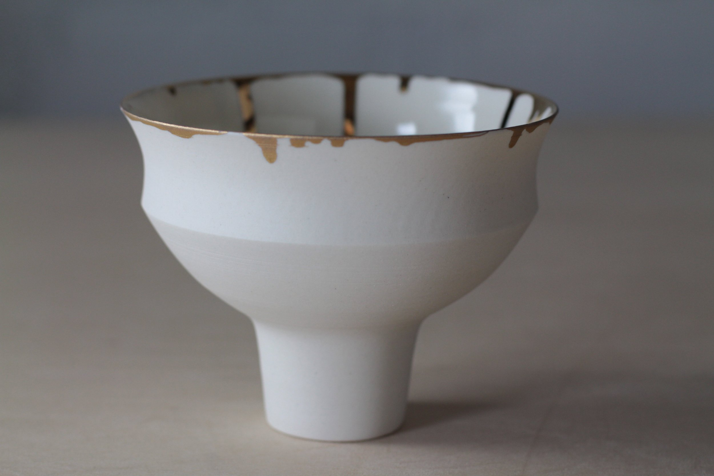 Porcelain ceramic white bowl with gold gilding by Lilith Rockett, Portland, Oregon