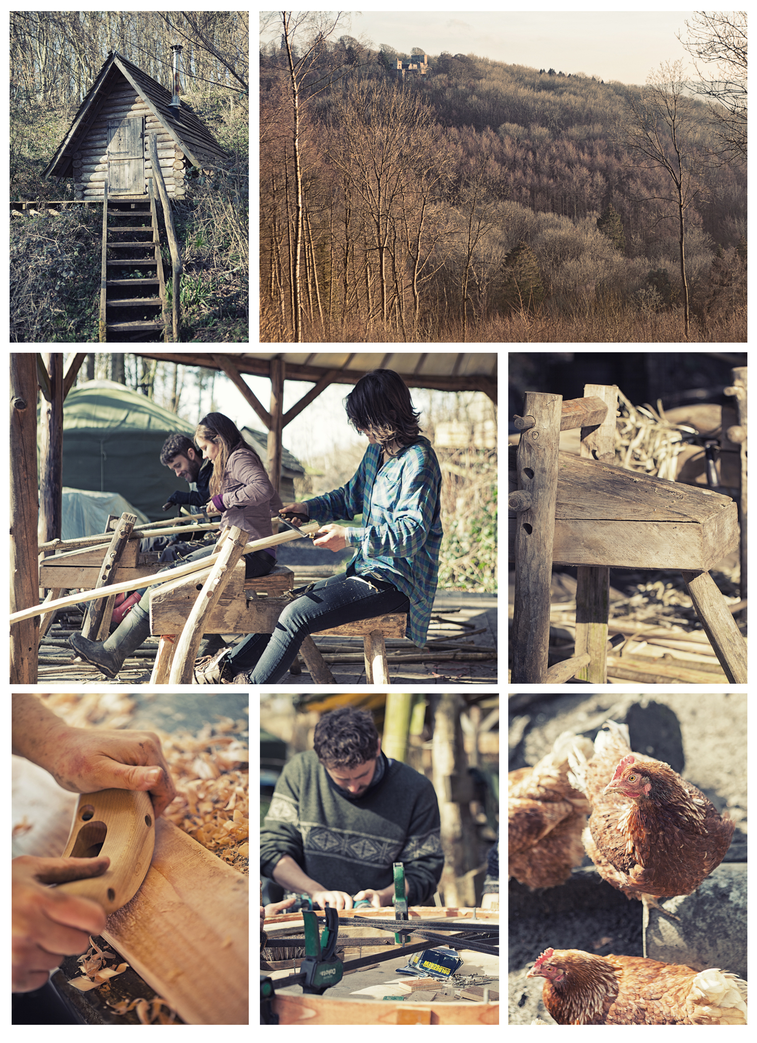 Apprentices and course attendees practise woodland craft at the Cherry Wood Project near Bath, UK