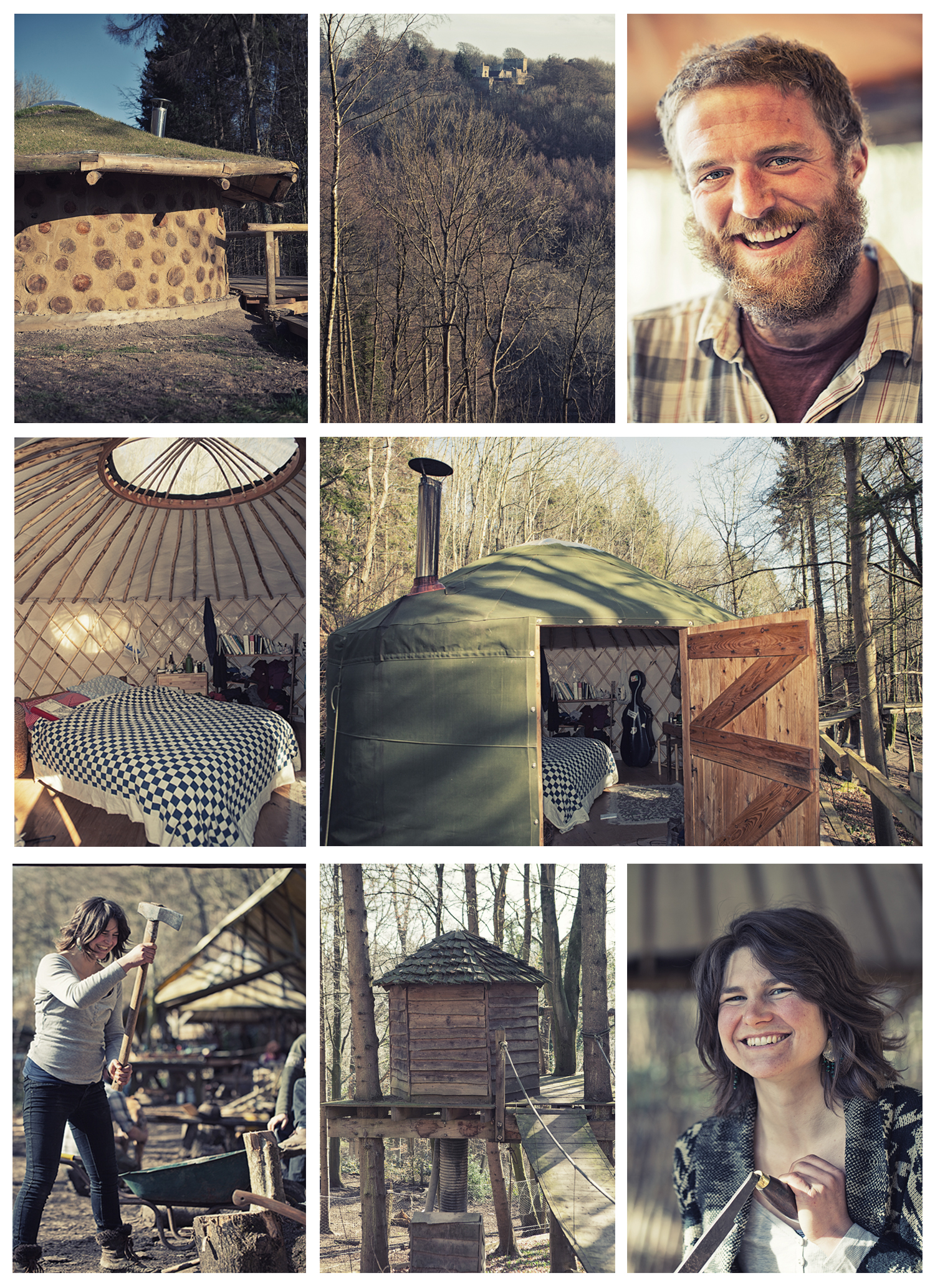 Apprentices stay on site in the hand-built yurts and learn woodland management skills. Top left is a house made of cob with a grass roof, and middle bottom is the toilet