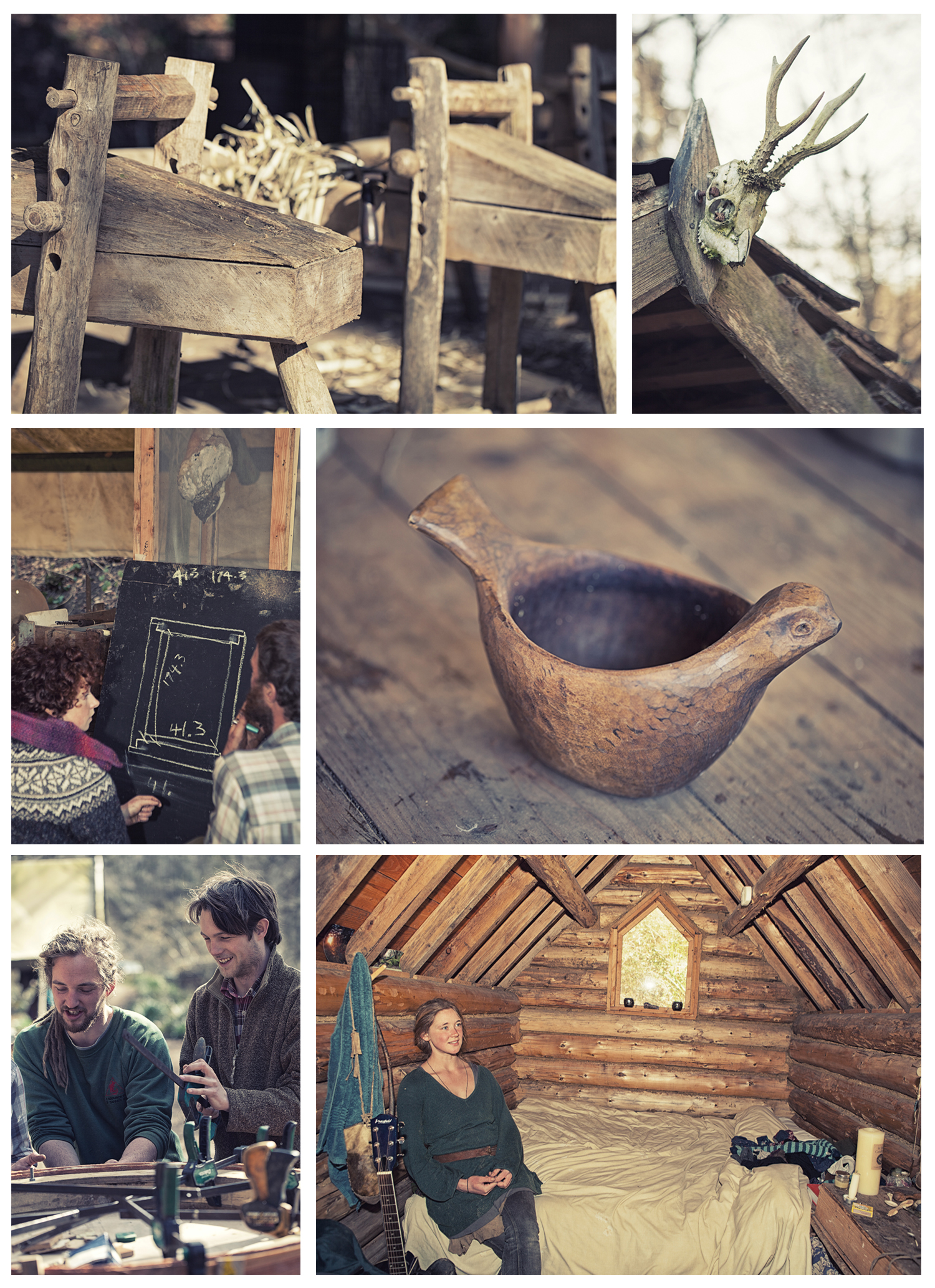 course attendees stay on site at the Cherry Wood project. Shave horses (top)and hand-made wooden bowl
