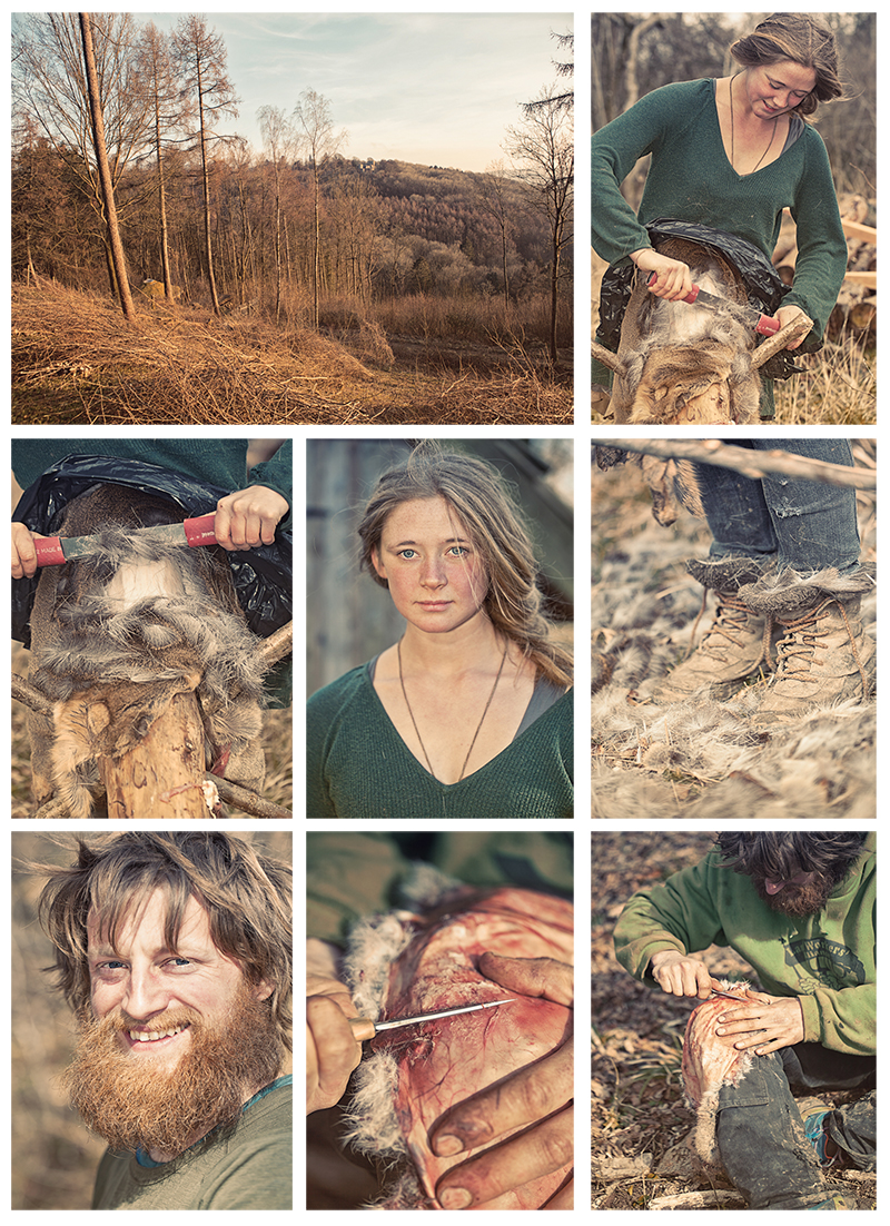 Jane Robertson and her colleague Pete, tanning deer and rabbit hide in preparation for living as stone-age