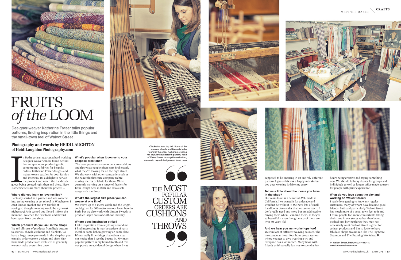 Katherine Fraser - weaver, for BathLife Magazine