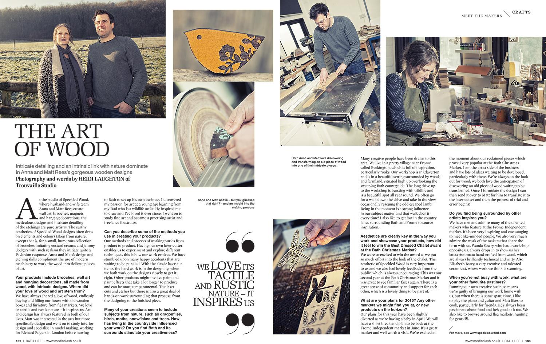 Laser etching on wood for BathLife magazine