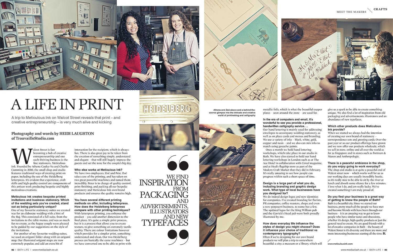 Letterpress for BathLife magazine