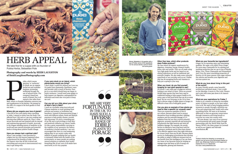 Pukka Tea for BathLife magazine