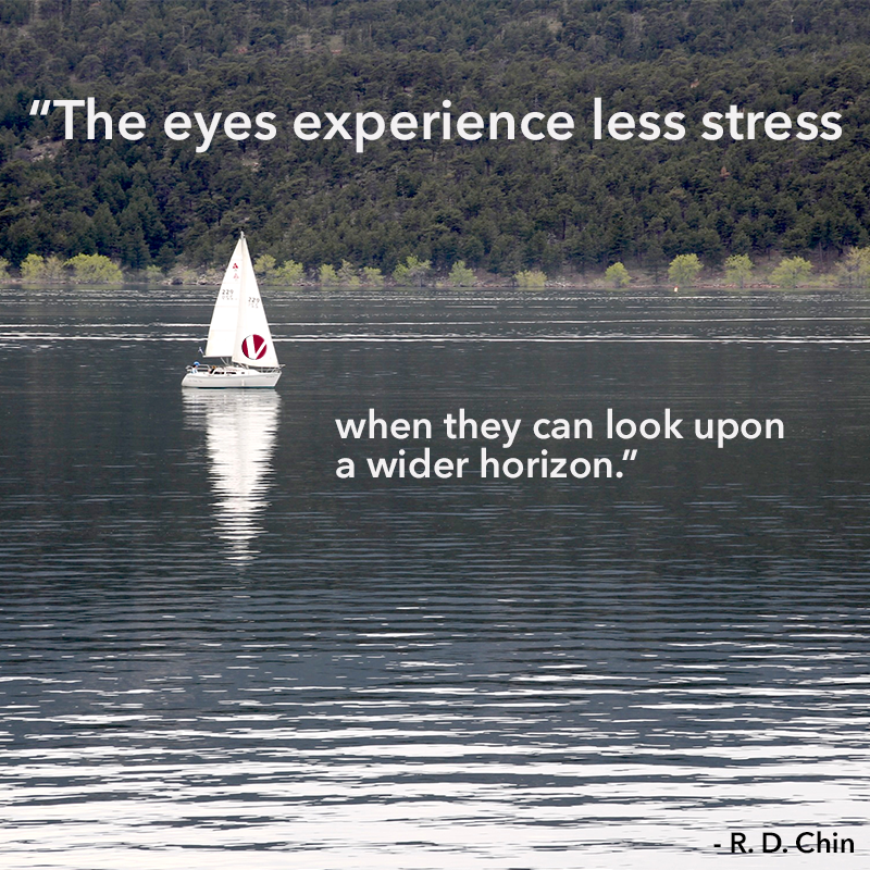 the eyes experience less stress