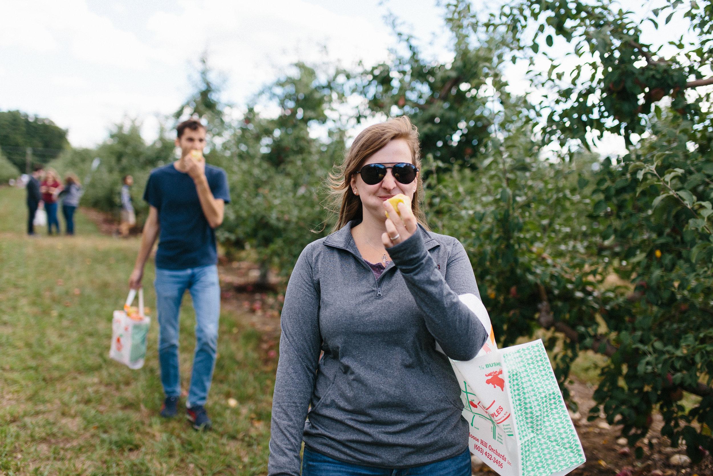 Katie Palmer Bites an Apple
