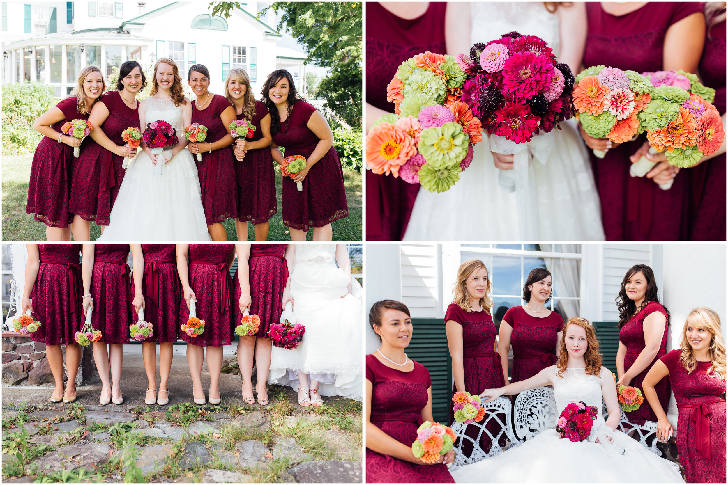 Bride, Bridesmaids, and their Beautiful Flowers