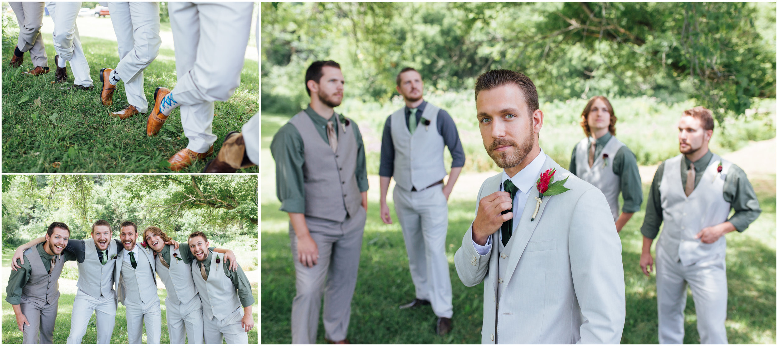 Groom and his groomsmen posing for portraits with smiles and moody faces while wearing fun socks in Vermont