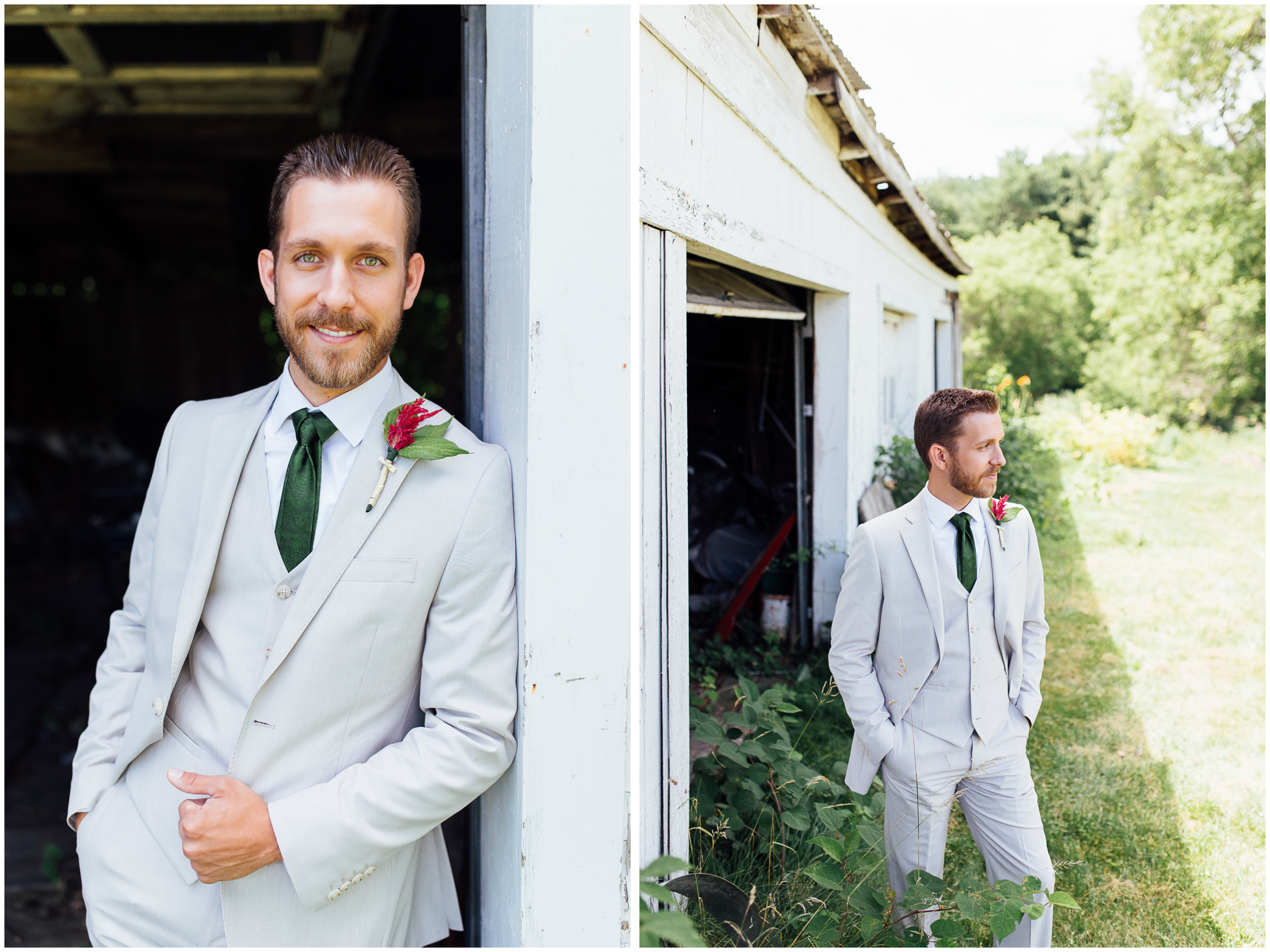 Handsome groom portraits in Vermont